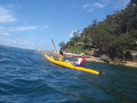 Excursion in canoes in the sea