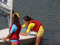 Students helping with the sail