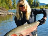 girl holding a big fish