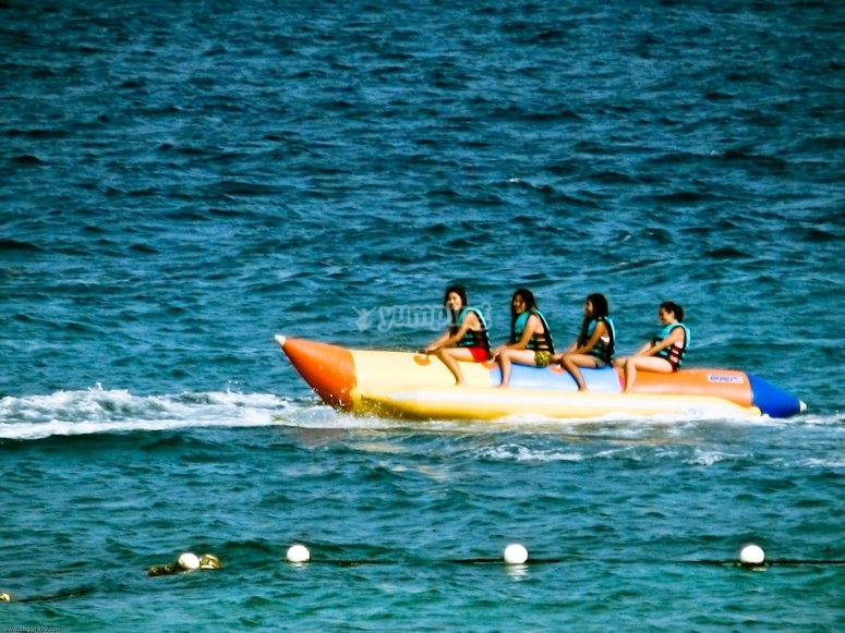 Starting from the beach on the banana boat