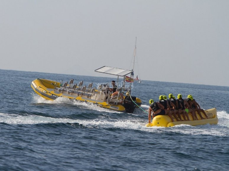 Friends on board the banana boat