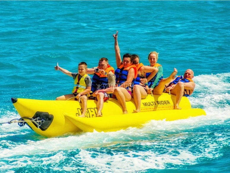 Laughter on board the banana boat
