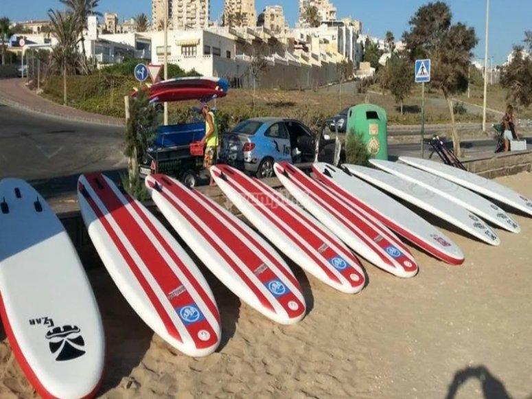 Paddle surf equipment rental in Los Locos beach
