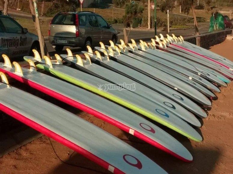 Paddle surf equipment rental in La Mata beach