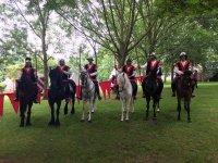 Medieval group on horseback
