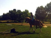 nina aprendiendo a montar a caballo