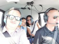 In the helicopter