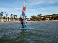Student testing windsurfing