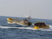 Group activity in a banana boat