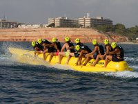 Enjoying the sea in a banana boat
