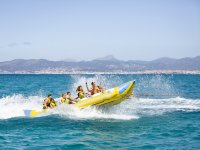 Group in a banana boat