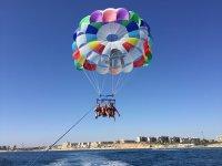 Family enjoying parasailing