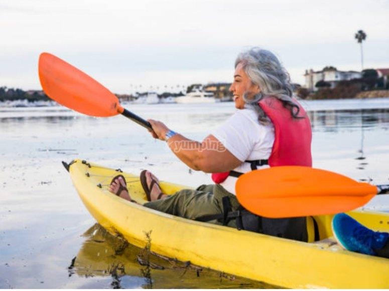 Inicio de la ruta en kayak por la playa