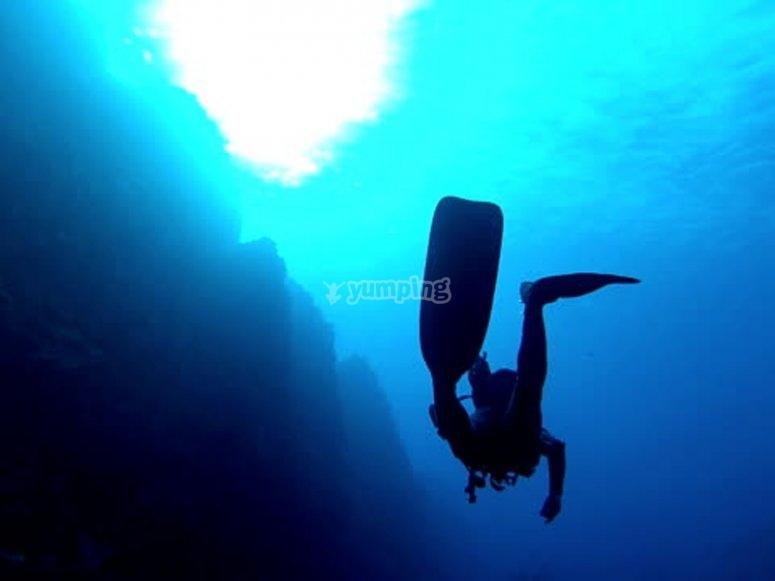 Inmersión de buceo en la ría de Vigo
