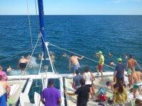 Banando from the catamaran on the Costa Blanca