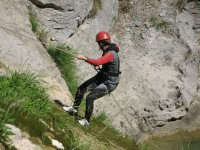 Rappel in a ravine