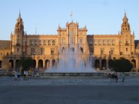 fountain in front of a Sevillian building.JPG