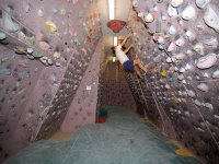 Climbing wall with slope