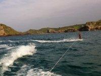 Sliding through the water
