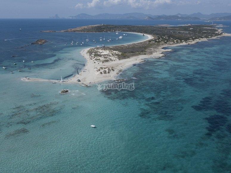 Vistas de Formentera desde los cielos