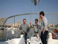 Sailing on sailboat