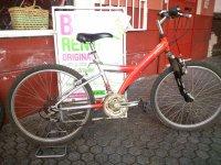 Bicicleta roja en alquiler en Sevilla