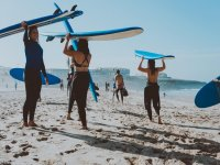 Students in surf class