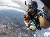Moment of maximum adrenaline on the parachute