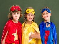 Friends dressed as super heroes