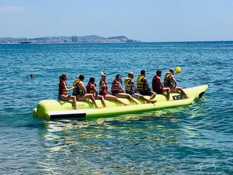 Comenzando la sesión de banana boat