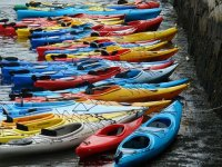 several kayaks on the seashore