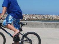 enjoying a bike ride on the beach