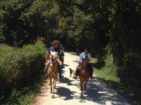 riding a horse along a path