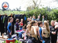 Putting on the wetsuits