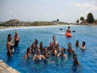 Kayaks in the pool