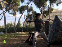 Jugando al archery tag en Salou