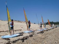 windsurfing class in the sand