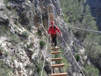 Wooden walkway in the ferrata in Valencia