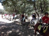 骑马出发走在马马术中心在El Espinar