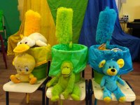Recycling bins with stuffed animals