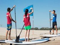 提升的标志学会在沙滩上练习划桨类