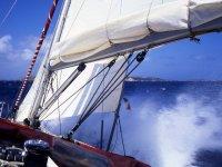 Sailboat sailing in Ibiza