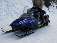 Driving the snowmobiles