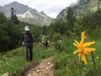 Japoneses de senderismo en el valle