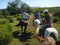 disfrutando de un paseo a caballo por la naturaleza