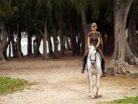 mujer paseando en un caballo blanco