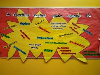 Cartel con frases en ingles en Oleiros.JPG