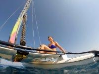 Sunbathing on the catamaran