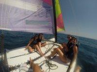 Friends aboard the catamaran