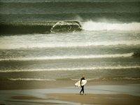 冲浪在海在海滩与冲浪板